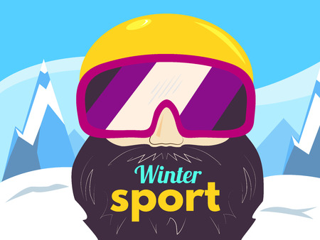 winter sport: Winter sport vector illustration for holiday design, party poster, greeting card or invitation. Holiday background with mountains