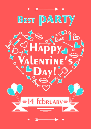 event party: Happy valentines day poster. Romantic vector illustration for event design, party, postcard or invitation in line style