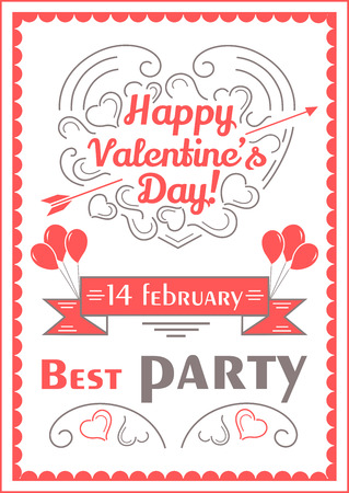 valentine day love beautiful: Happy valentines day poster. Romantic vector illustration for event design, party, postcard or invitation in line style
