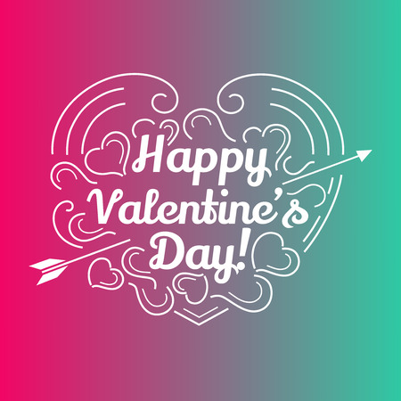 day: Happy valentines day card. Romantic vector illustration for event design, party poster, postcard or invitation.