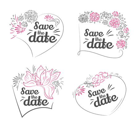 Set of vector Save The Date, Wedding Invitation. Valentines day greeting card with lettering and frame of plant decorative elements. Vector hand drawn illustration Vectores