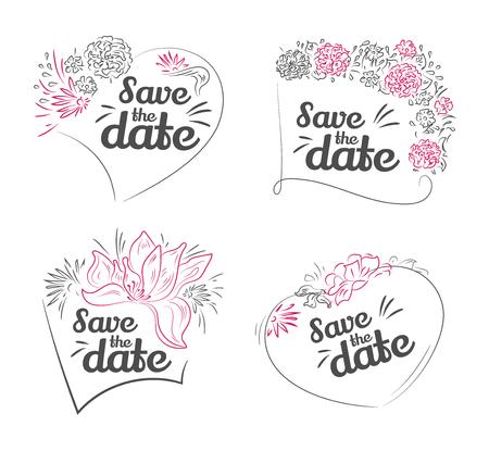 Conjunto de vector de reserva la fecha, invitación de la boda. Tarjeta de felicitación del día de San Valentín con las letras y el marco de elementos decorativos vegetales. Ilustración drenada mano del vector