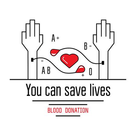 Le don de sang icônes de style plat. Les donateurs symbole de jour. vecteur médical
