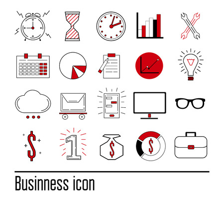 webshop: Flat line set of design process from business productivity and success. Concept for your materials Illustration