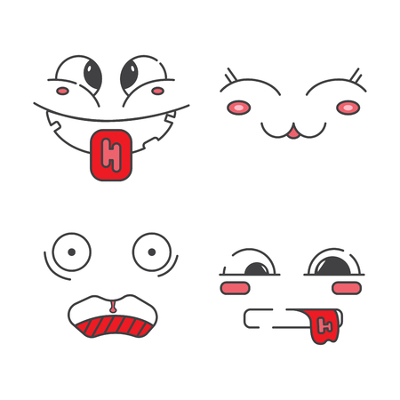 iconography: Emoji flat . Set of line emoticons. Smiley faces design Illustration