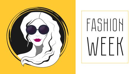 fashion week: Beautiful fashion woman face with sunglasses shopping and fashion week Illustration