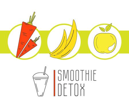detox: Healthy lifestyle. Trendy linear style.  Smoothie detox Illustration