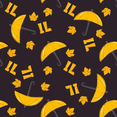 rains: Autumn pattern with yellow umbrella. Season of rains. Seamless pattern of yellow autumn leaves on background