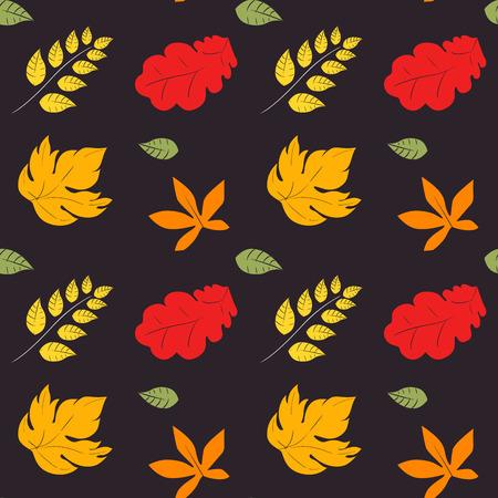rains: Autumn pattern. Season of rains. Seamless pattern of yellow autumn leaves on background