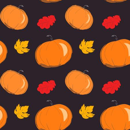rains: Autumn pattern with orange pumpkin. Season of rains. Seamless pattern of yellow autumn leaves on background