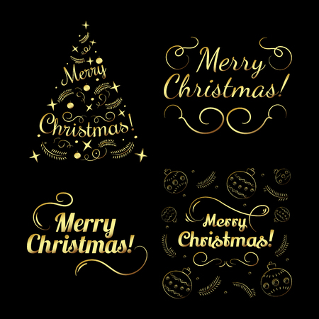 holiday party: Merry christmas set for holiday design, party poster, postcard or invitation. Holiday golden card