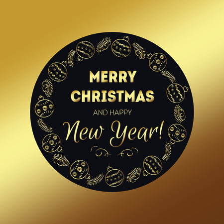 holiday party: Merry christmas golden for holiday design, party poster, postcard or invitation. Holiday card