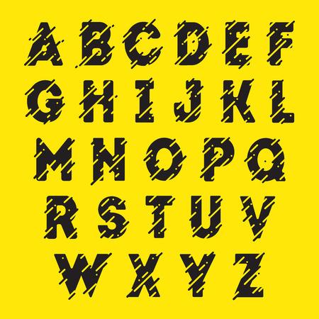 alphabetic: Typographic abc. Black alphabetic font with lines