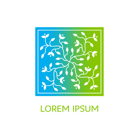 centers: Emblems for flowers shop, medicine, yoga centers, natural and organic products Illustration