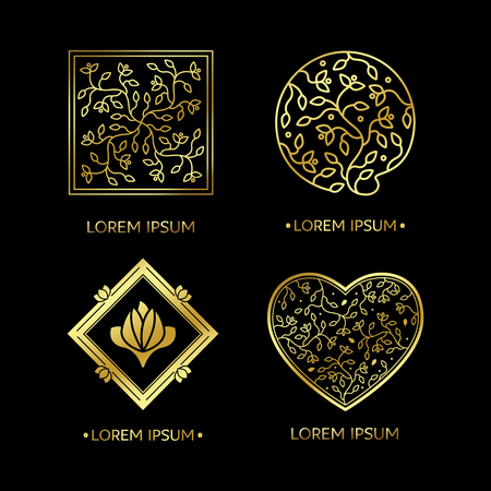 herbalist: Emblems set for flowers shop, medicine, yoga centers, natural and organic products