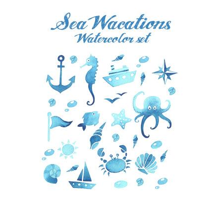 Sea wacations watercolor set Vector