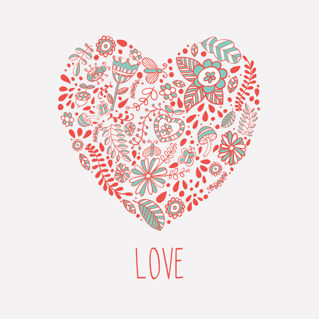 small group of objects: Heart shaped love vector cute pattern Illustration