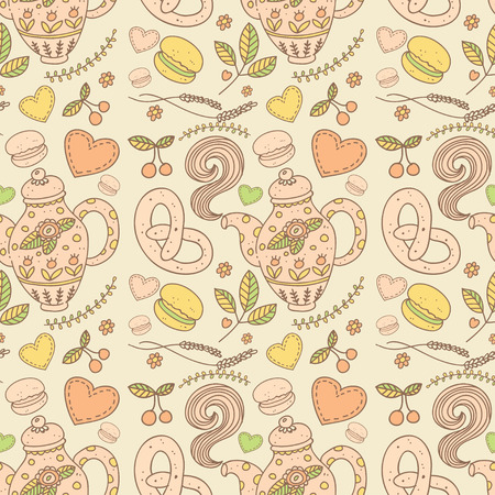 Tea party vector seamless pattern Vector