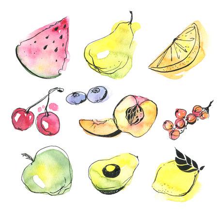 Watercolor fruits set photo