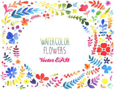 ilustration and painting: Watercolor flower vector set