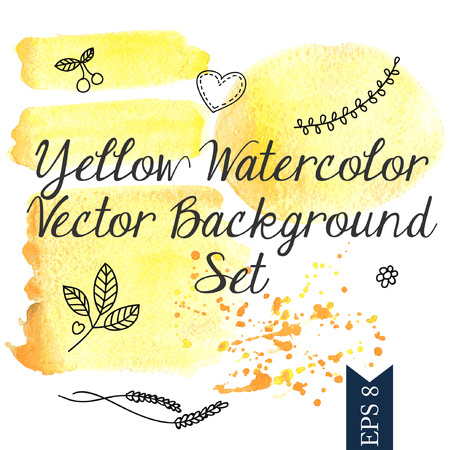 ilustration and painting: Yellow watercolor vector background Illustration
