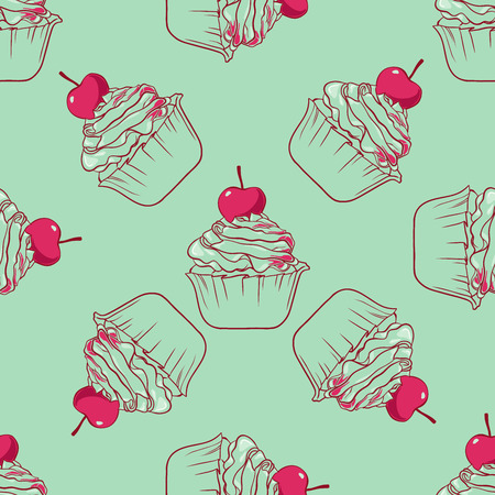 cupcake seamless vector pattern