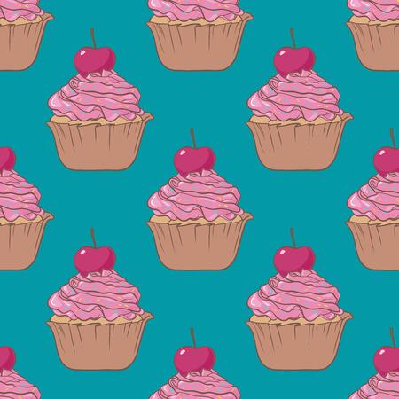 indulgence: cupcake seamless vector pattern