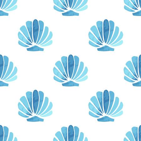 Seashell vector seamless summer pattern Vector