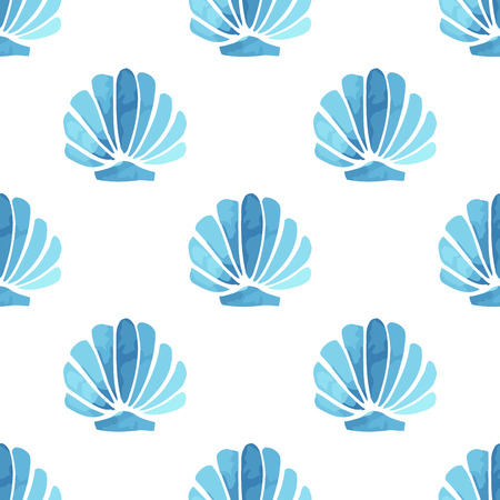 Seashell vector seamless summer pattern