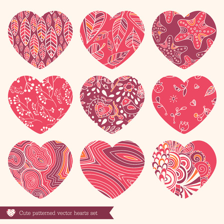 A vector illustration of nine various lace fretwork hearts set Vector