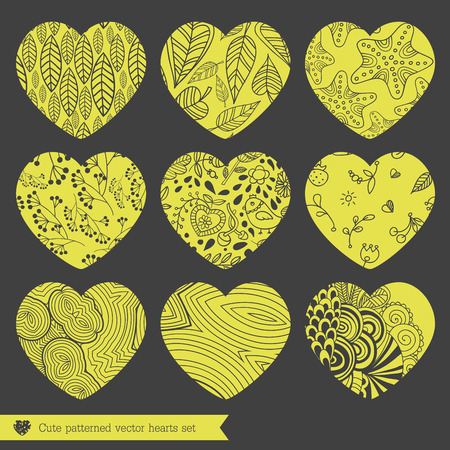 fretwork: A vector illustration of nine various lace fretwork hearts set Illustration