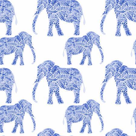 siluetas de elefantes: Elefantes inconsútiles fondo de la acuarela. Elefante sin fisuras patrón de fondo ilustración vectorial