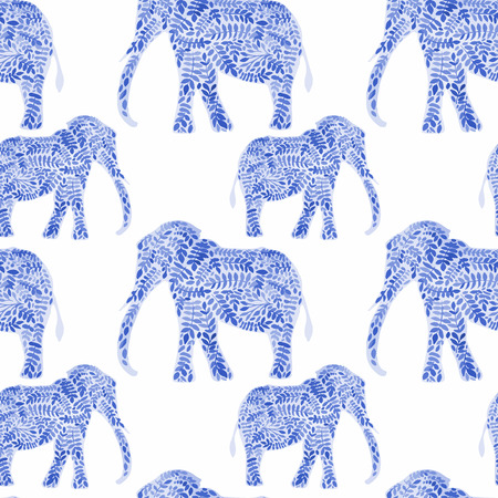 fabric art: Elephants seamless watercolor background. Elephant seamless pattern background vector illustration Illustration