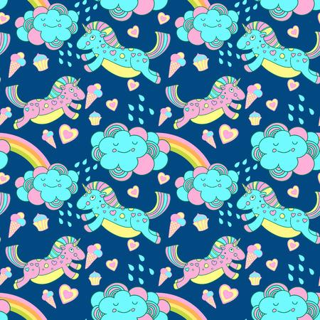 Vector naadloze patroon met de eenhoorns, wolken en regenboog