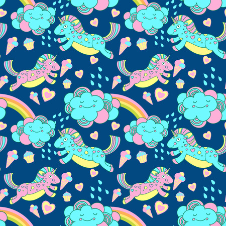 Vector seamless pattern with the unicorns, clouds and rainbow