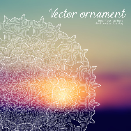 indian summer: Vector web and mobile interface template. Corporate website design. Minimalistic web media backdrop. Editable. Vector blurred mandala background. Unfocused. Presentation template. Frame for text. Illustration