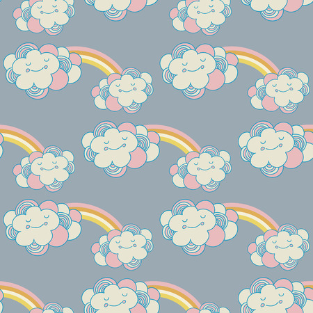 seamless pattern with the clouds and rainbow photo