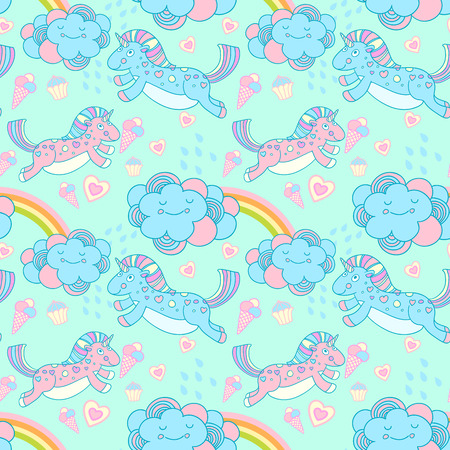 cute wallpaper: seamless pattern with the unicorns, clouds and rainbow Stock Photo