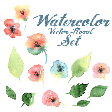 Vector watercolor floral set with flovers and foliage