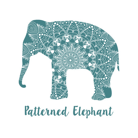 Mandala patterned vector elephant. Indian motives Иллюстрация