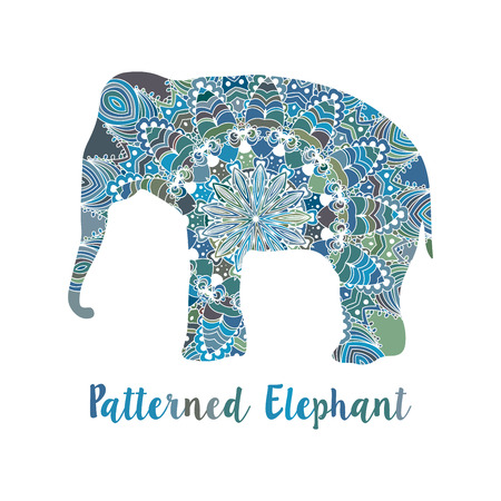 retro colors: Mandala patterned vector elephant. Indian motives Illustration