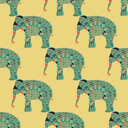 Vector seamless pattern with the patterned elephants Vector