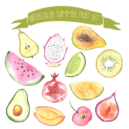 Watercolor vector fresh sweet fruits set