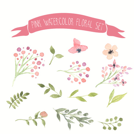 spring bud: Pink watercolor vector floral set Illustration