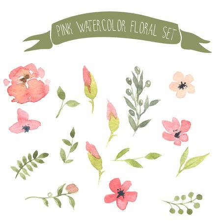 rosebud: Pink watercolor vector floral set Illustration