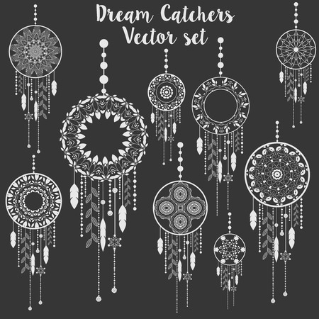 silhouette america: Dream catchers vector patterned set Illustration