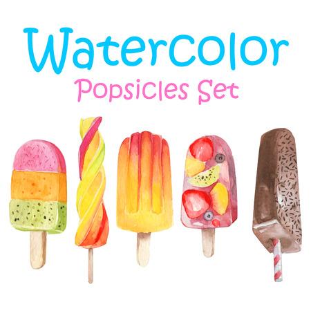 ice cream on a stick: Vector helado acuarela conjunto pop hielo Vectores