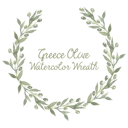 Watercolor Green round vector Greece olive wreath