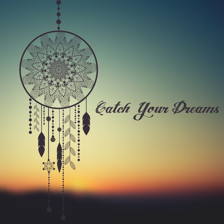 catcher: dream catcher on sunset blurred mesh background with sample text. vector illustration