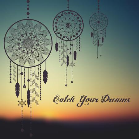 Dream Catcher op zonsondergang wazig mesh achtergrond met voorbeeld tekst. vector illustratie Stock Illustratie
